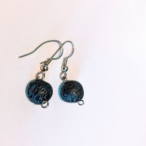 Silver Earrings with Lava Stones